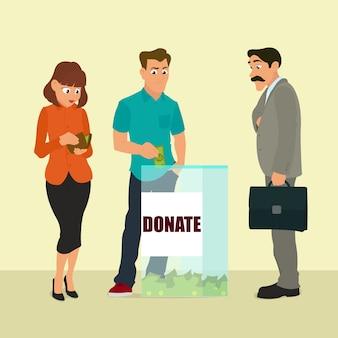Grupo de donantes pone dinero caja transparente