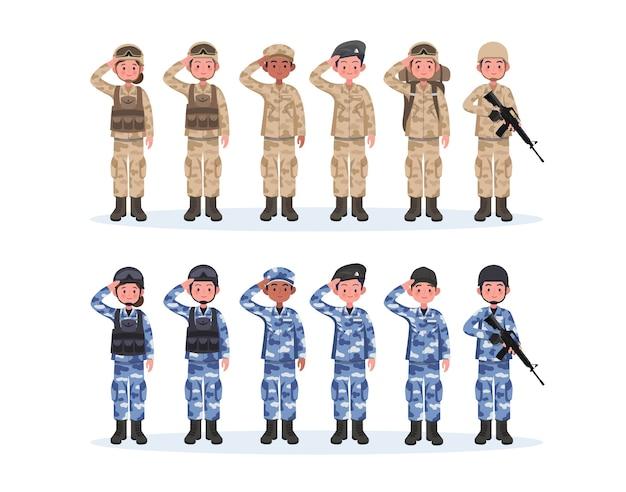 Grupo de ejército, hombres y mujeres, en uniforme de combate de camuflaje saludando. estilo de dibujos animados plano lindo.
