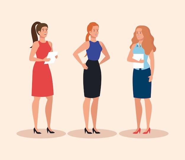Grupo de elegante diseño de ilustración de empresarias ejecutivas