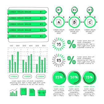 Grupo de elementos de infografía dibujada a mano