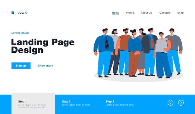 Grupo de empleados de oficina parados juntos página de destino en estilo plano