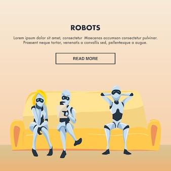 Grupo de empleados de robots se sientan en un cómodo sofá