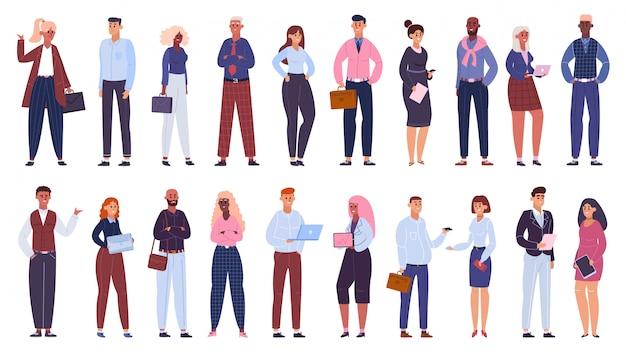 Grupo empresarial multicultural. equipo de trabajadores de oficina de personas, conjunto de ilustración de comunidad de personajes de colegas de negocios multinacionales. equipo de negocios multiculturales, empresario y mujeres.