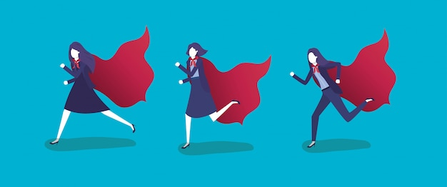 Grupo de empresarias corriendo con capa de héroe.