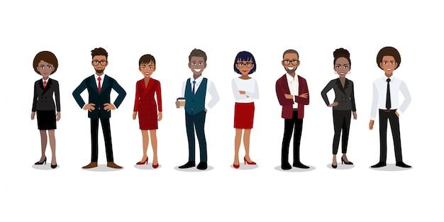 Grupo de empresarios afroamericanos personaje de dibujos animados en estilo de oficina