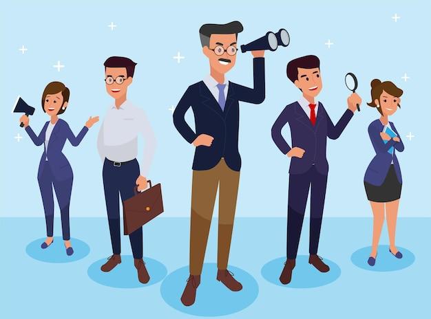Grupo de empresarios aislados. diferentes personas con diferentes estilos. estilo de dibujos animados plano simple.
