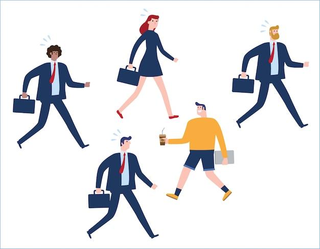 Grupo de empresarios caminando por la calle.