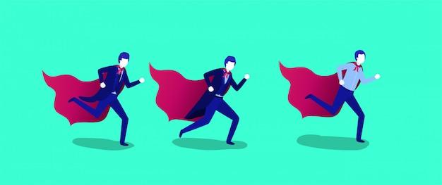 Grupo de empresarios corriendo con capa de héroe.