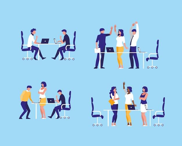 Grupo de empresarios elegantes en el lugar de trabajo