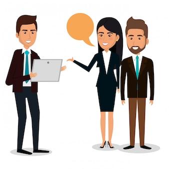 Grupo de empresarios con ilustración de trabajo en equipo de burbujas de discurso
