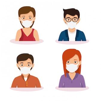 Grupo de empresarios con mascarilla