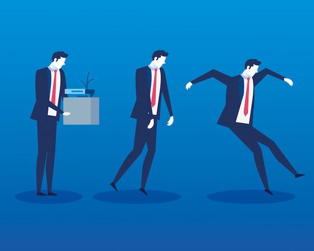 Grupo de empresarios personajes de avatar desempleados
