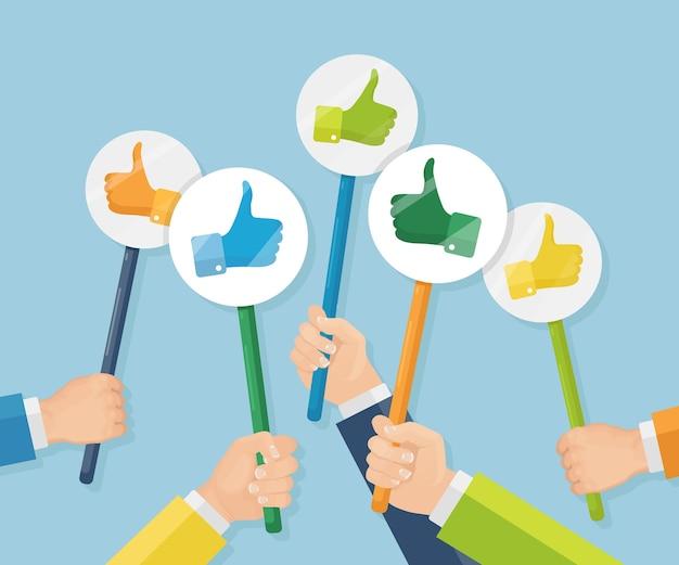 Grupo de empresarios con los pulgares para arriba. redes sociales. buena opinión. testimonios, comentarios, concepto de revisión del cliente.