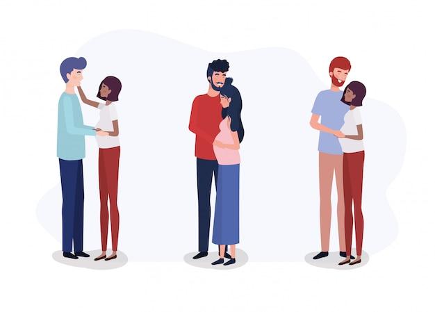 Grupo de enamorados parejas embarazo personajes.