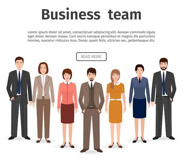 Grupo de equipo de negocios. conjunto de hombres y mujeres planas, empleado de oficina de pie juntos. trabajo en equipo