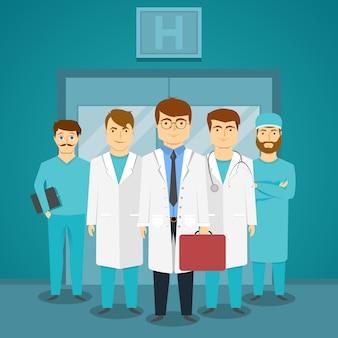 Grupo de especialistas médicos en hospital con médico líder