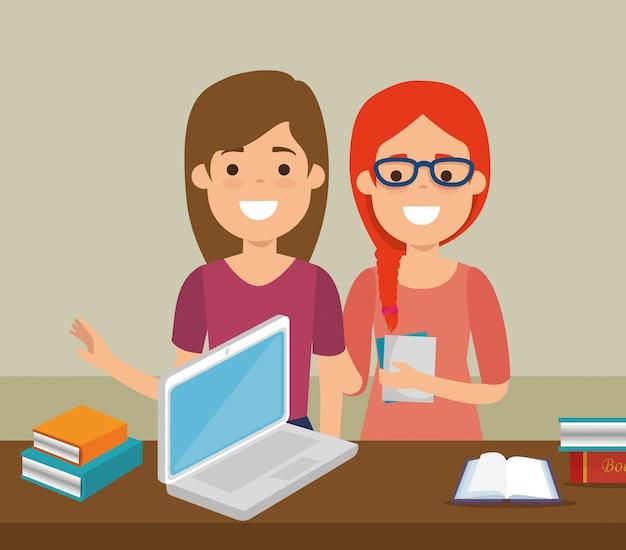 Grupo de estudiantes con educación en línea.