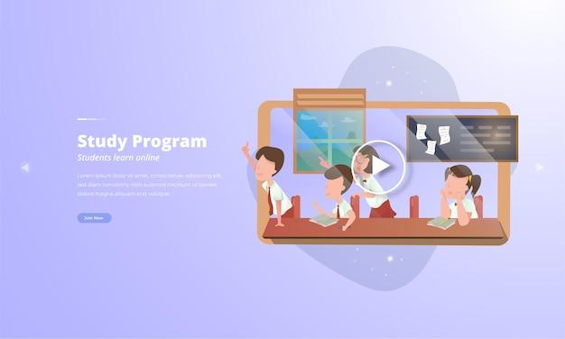 Un grupo de estudiantes está estudiando conceptos de aprendizaje por video en línea.