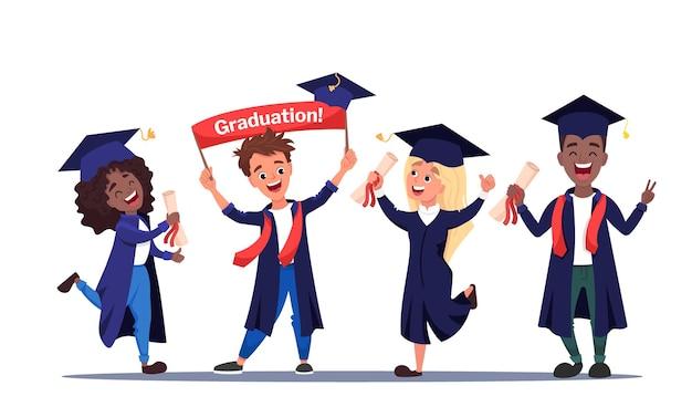 Grupo de estudiantes graduados felices vistiendo batas académicas con diplomas en sus manos niños y niñas multiculturales celebrando juntos la graduación universitaria. caricatura plana