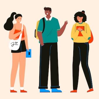 Grupo de estudiantes multiculturales ilustración vectorial plana. niñas y niños con libros y personajes aislados portátiles. adolescente feliz en ropa casual. estilo de vida juvenil.