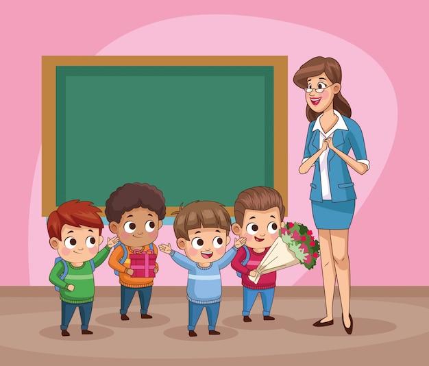 Grupo de estudiantes pequeños niños en el aula