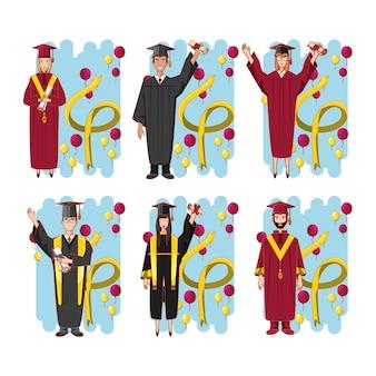 Grupo de estudiantes personajes graduados