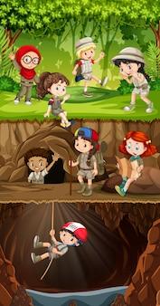 Grupo de exploradores explorando el bosque