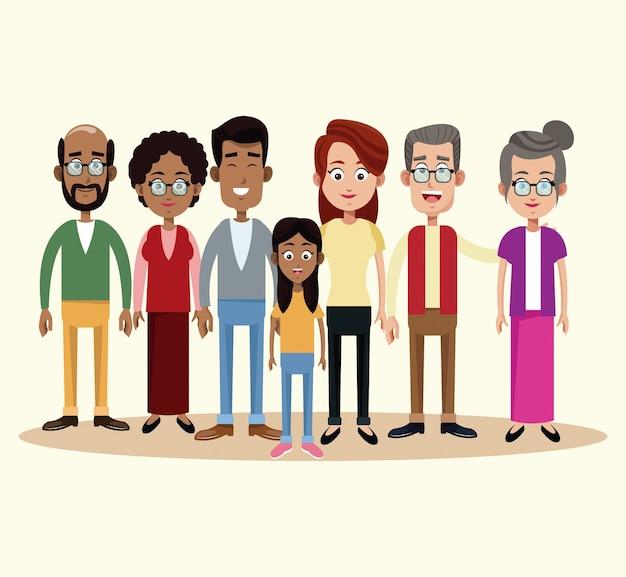 Grupo familiar diferente multicultural