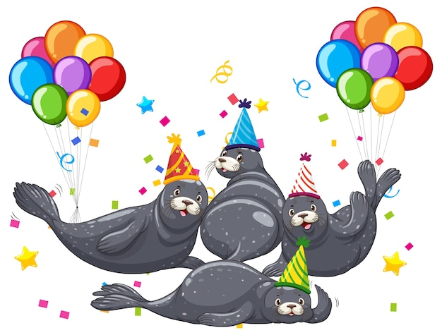 Grupo de focas en personaje de dibujos animados de tema de fiesta en blanco
