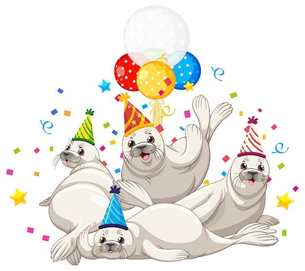 Grupo de focas en personaje de dibujos animados de tema de fiesta sobre fondo blanco