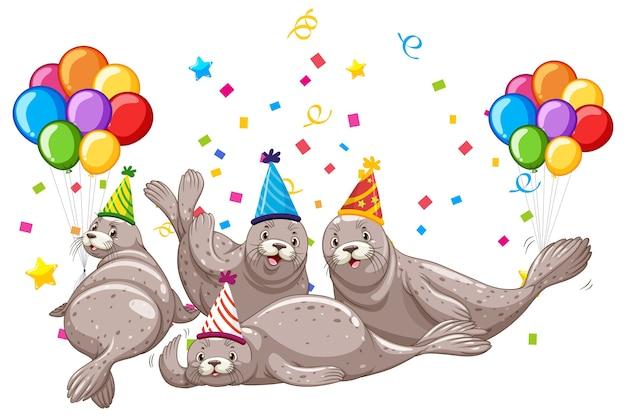 Grupo de focas en personaje de dibujos animados de tema de fiesta