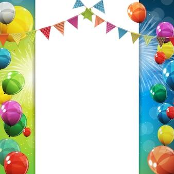 Grupo de fondo de globos de helio brillante de color. conjunto de globos y banderas para cumpleaños, aniversario, decoraciones de fiesta de celebración. ilustración vectorial