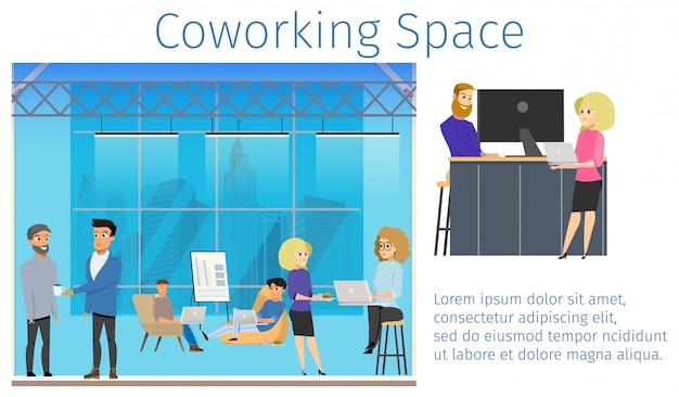 Grupo de freelancer en coworking studio banner