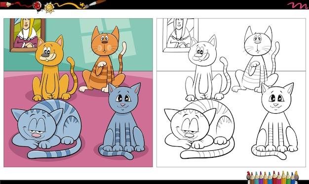 Grupo de gatos y gatitos de dibujos animados página de libro para colorear