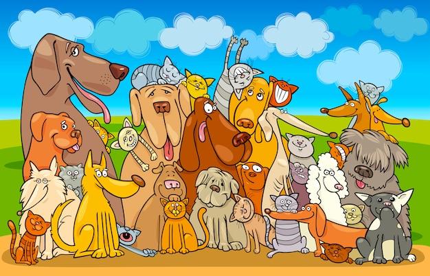 Grupo de gatos y perros