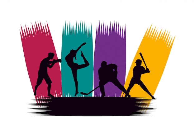 Grupo de gente atlética practicando deportes siluetas
