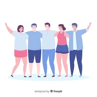 Grupo de gente joven abrazándose en diseño plano
