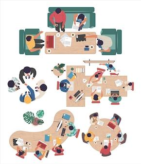 Grupo de gente de negocios discutiendo el inicio del proyecto, la estrategia de la empresa, la ilustración de la vista superior plana del vector. reunión de la sala de juntas, conferencia, lluvia de ideas, trabajo en equipo, apretón de manos.