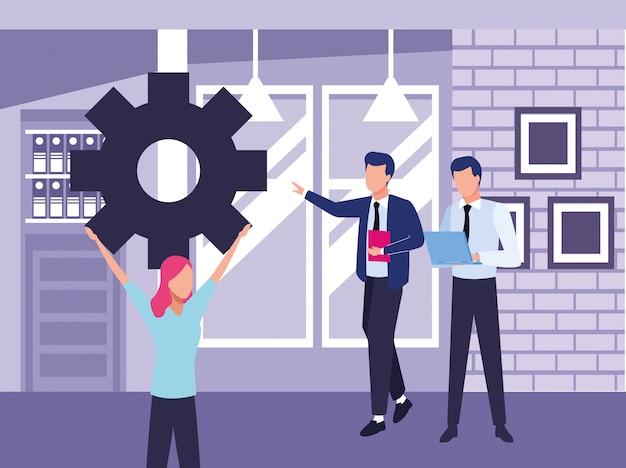 Grupo de gente de negocios, trabajo en equipo con engranajes, diseño de ilustraciones vectoriales