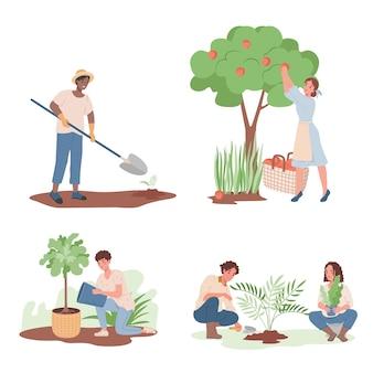 Grupo de gente sonriente feliz que trabaja en el jardín