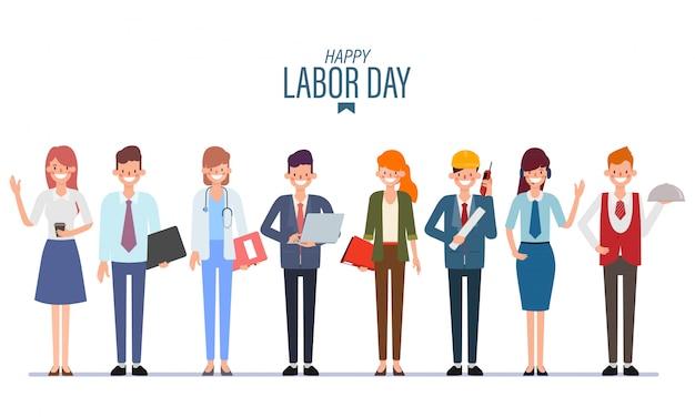 Grupo de gente trabajadora. trabajo en equipo. día internacional del trabajo.