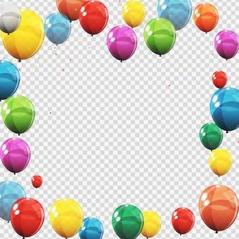 Grupo de globos de helio brillante de color aislados en transperent