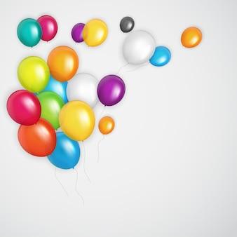 Grupo de globos de helio brillante de color. conjunto de globos para cumpleaños, aniversario, decoraciones de fiesta de celebración. ilustración