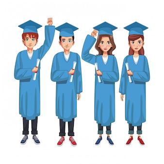 Grupo graduado de personas
