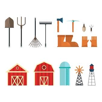 Grupo de herramientas e instalaciones agrícolas