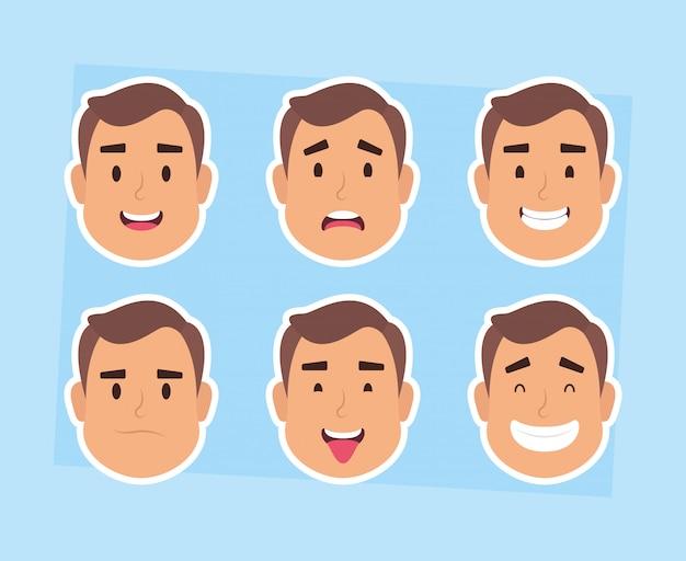 Grupo de hombre enfrenta a personajes ilustración vectorial diseño