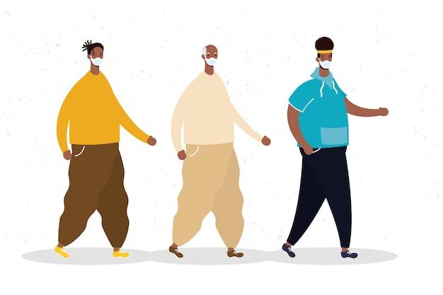 Grupo de hombres afro con icono de personajes de máscara médica