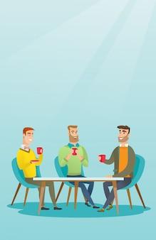 Grupo de hombres bebiendo bebidas alcohólicas y calientes.