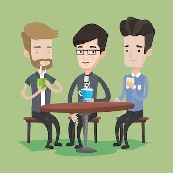 Grupo de hombres bebiendo bebidas calientes y alcohólicas.