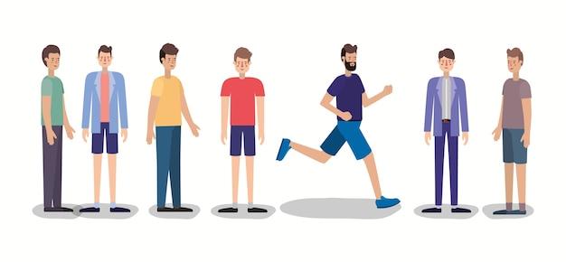 Grupo de hombres caminando y corriendo personajes